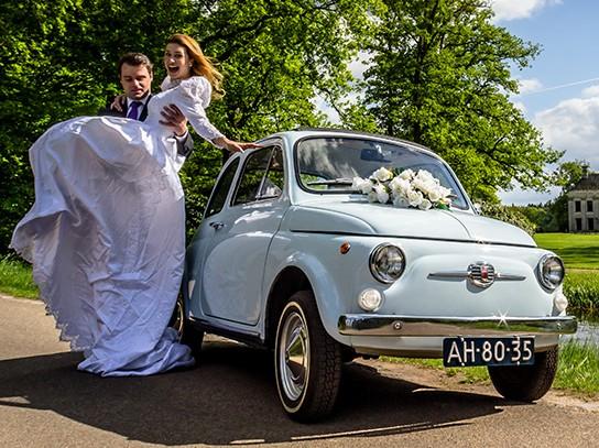 Trouwauto Fiat500 oldtimer
